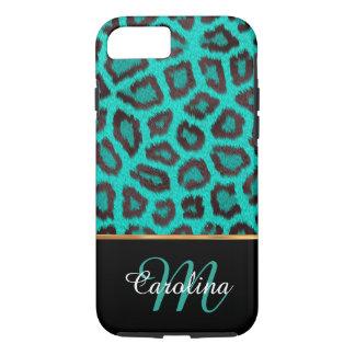 Aquamarine Leopard-Haut, Name und Monogramm iPhone 7 Hülle