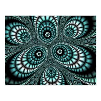 Aquamarine Mosaik-Fraktal-Postkarten Postkarte