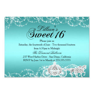 Aquamarine Pferde-u. Wagen-Prinzessin Sweet 16 12,7 X 17,8 Cm Einladungskarte