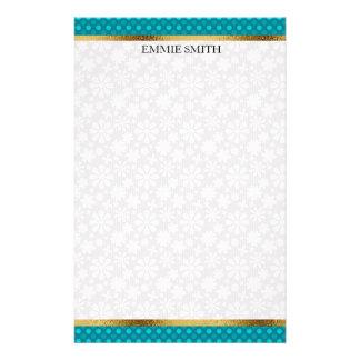 Aquamarine Polka-Punkte mit Gold und weißer Briefpapier