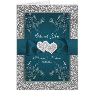 Aquamarine, silberne Blumenhochzeit danken Ihnen Mitteilungskarte