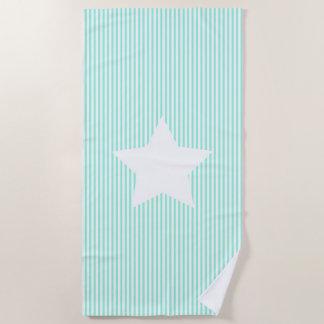Aquamarine Streifen u. weißes Stern-Badetuch Strandtuch