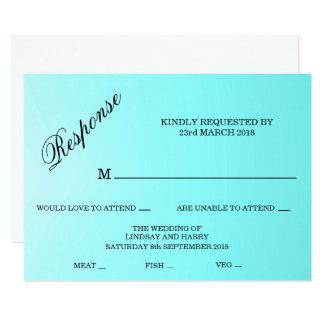 Aquamarine-Türkis-Hochzeits-Wartekarte 11,4 X 15,9 Cm Einladungskarte