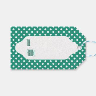 Aquamarine u. weiße Polkapunkt-Geschenkumbauten Geschenkanhänger