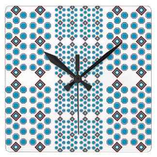 Aquamarine und geometrische Wand-Uhr Browns Quadratische Wanduhr