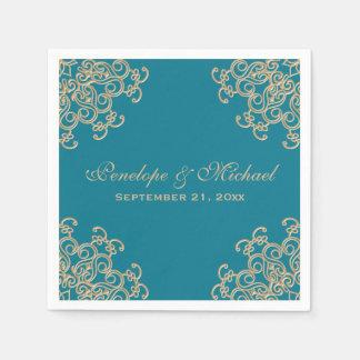 Aquamarine-und Goldindische Art-Hochzeit Papierserviette