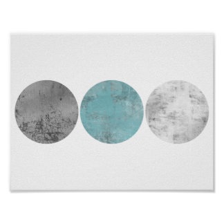 Aquamarine und graue geometrische Kreise Poster