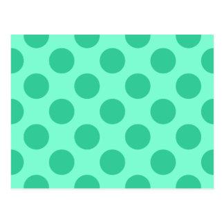Aquamarine und grüne Punkte Postkarte