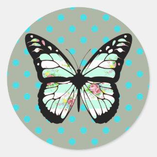 Aquamarine und rosa Schmetterlings-mit Runder Aufkleber