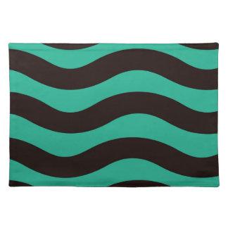 Aquamarine und schwarze gewellte Streifen Tischset