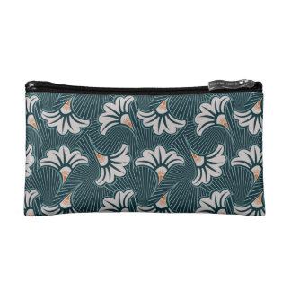Aquamarine und weiße Blumendruck Kosmetik-Tasche Makeup-Tasche