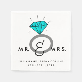 Aquamarine Verlobungs-oder Hochzeits-Frau und Frau Papierserviette