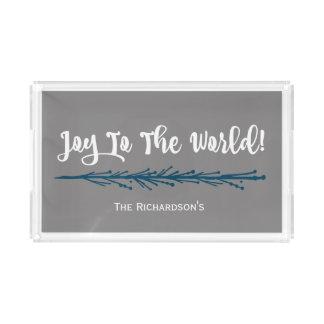 Aquamarine Zweig-Freude zum Weltweihnachten Acryl Tablett