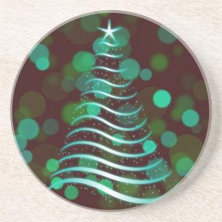 Aquamariner Band-Weihnachtsbaum am Feiertag Bokeh Getränkeuntersetzer