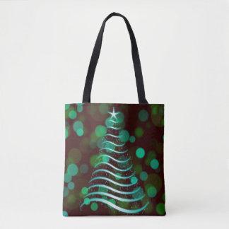 Aquamariner Band-Weihnachtsbaum am Feiertag Bokeh Tasche