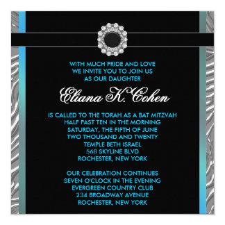Aquamariner blauer Zebra-Schläger Mitzvah Quadratische 13,3 Cm Einladungskarte