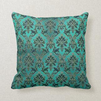 Aquamariner blaues Grün-Damast auf glänzendem Kissen