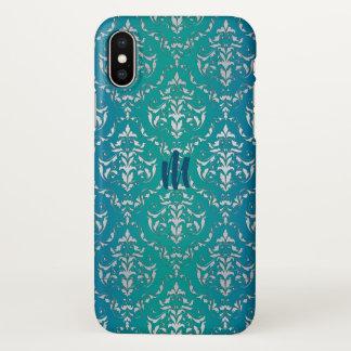 Aquamariner blaues Grün-Damast-Monogramm iPhone X iPhone X Hülle