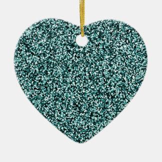 Aquamariner blaues Grün-Imitat-Glitter Keramik Ornament