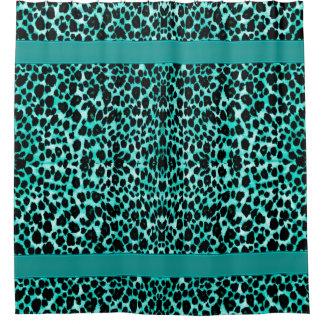 Aquamariner blaues Grün-Leopard-Tierdruck Duschvorhang