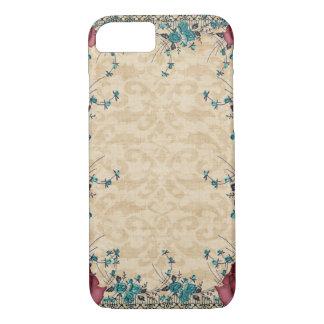 Aquamariner Burgunder-Damast-BlumenBlumen iPhone 8/7 Hülle