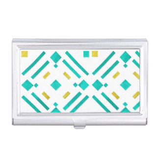 Teal Diamonds Pattern Business Card Holder