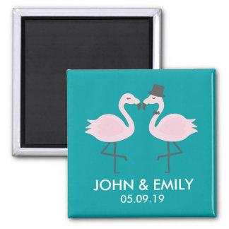 Aquamariner Flamingo-Hochzeits-Braut-u. Quadratischer Magnet
