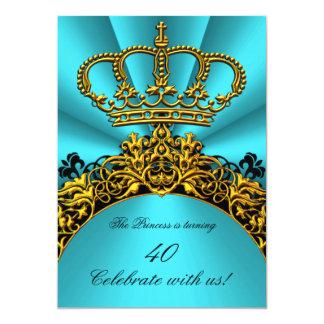 Aquamariner Geburtstag Prinzessin-Prinz König 12,7 X 17,8 Cm Einladungskarte