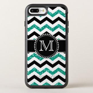 Aquamariner Glitter, schwarzes Zickzack, stark, OtterBox Symmetry iPhone 7 Plus Hülle