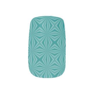 Aquamariner Hintergrund-Squiggly Quadrate Minx Nagelkunst