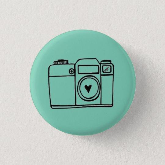 Aquamariner Kamera-Gekritzel-Knopf Runder Button 3,2 Cm