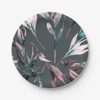 Aquamariner korallenroter Watercolor-botanisches Pappteller