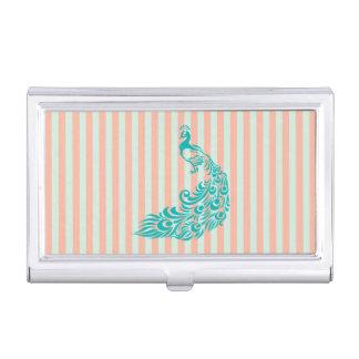 Aquamariner Pfau-Silhouette-Geschäfts-Kartenhalter Visitenkarten Dose
