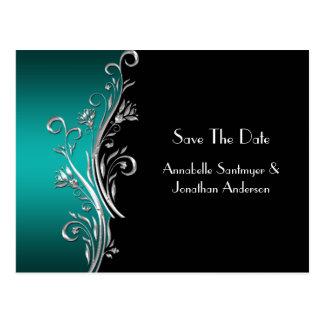 Aquamariner schwarzer silberner Wirbel Save the Postkarte