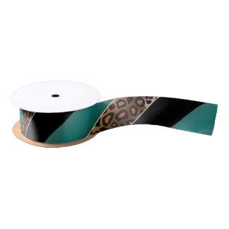 Aquamariner, Schwarzer und Jaguar-Druck Satinband