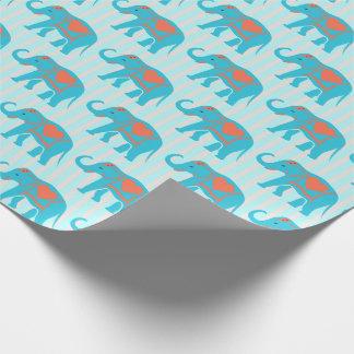 Aquamariner Türkis, blaue Elefanten, auf blauen Geschenkpapier