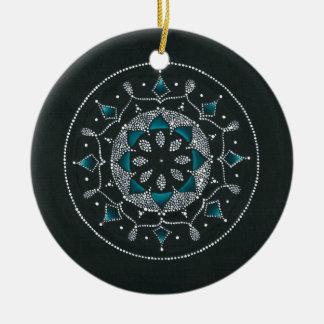 Aquamariner und PunkteMandala Rundes Keramik Ornament