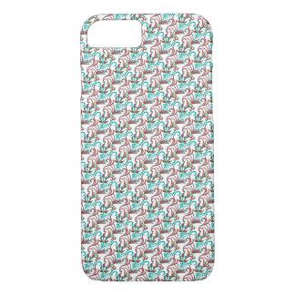 Aquamariner und schwarzer nahtloser Entwurf - iPhone 8/7 Hülle