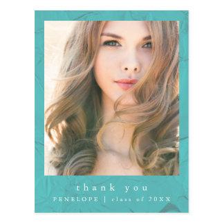 Aquamarines Abschluss-Foto danken Ihnen Postkarte