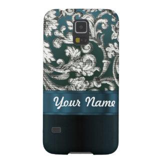 Aquamarines blaues Blumendamastmuster Galaxy S5 Hüllen