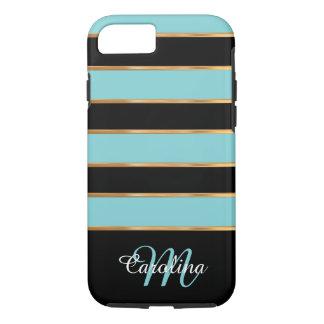 Aquamarines blaues Gold und Schwarzes, Name und iPhone 7 Hülle