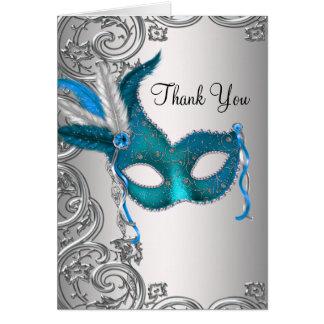 Aquamarines blaues Maskerade-Party danken Ihnen Mitteilungskarte