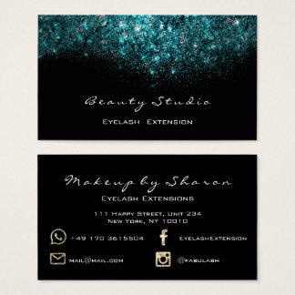 Aquamarines blaues Ozean-Make-uppeitsche Instagram Visitenkarte