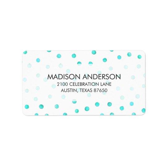 Aquamarines blaues weißes Confetti-Punkt-Muster Adressetiketten