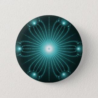 Aquamarines Fraktal-Blumen-Knopf-Button Runder Button 5,7 Cm