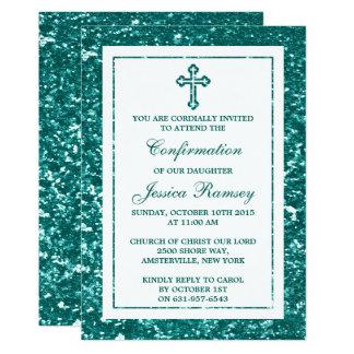 Aquamarines Glitter-Kreuz-heilige Kommunion oder 12,7 X 17,8 Cm Einladungskarte