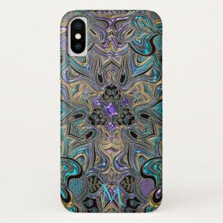 Aquamarines Goldlila Mandala-Monogramm iPhone X iPhone X Hülle