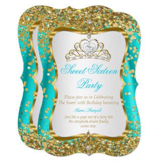 Aquamarines Goldweiß Tiara-Prinzessin-Sweet 16 12,7 X 17,8 Cm Einladungskarte