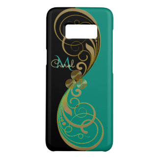 Aquamarines grünes Celtic Triskele Monogramm Case-Mate Samsung Galaxy S8 Hülle