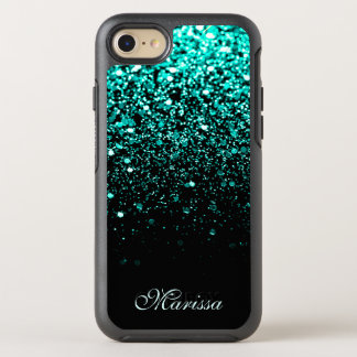 Aquamarines grünes Glitzer-Schwarzes OtterBox Symmetry iPhone 8/7 Hülle